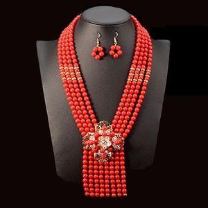 Handmade multi layered red pearl jewelry set